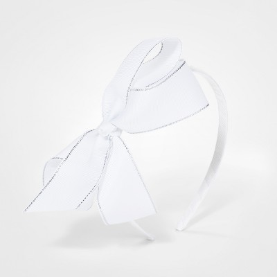 Girls' Lurex Ribbon Bow Headband - Cat & Jack™ White
