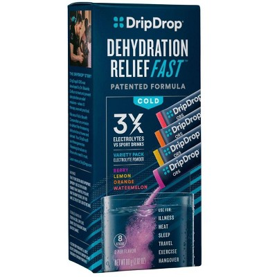 DripDrop ORS Electrolyte Powder for Fast Dehydration Relief - Variety - 8ct