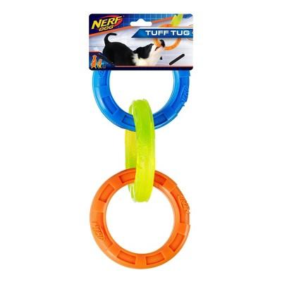 "NERF TPR 3 Ring Tug Dog Toy - Blue/Green/Orange - 10.5"""