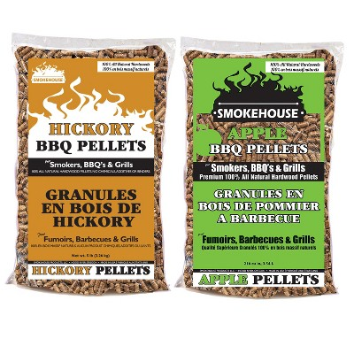 Smokehouse Products 5 Pound Bag Apple Hickory BBQ Wood Pellets All Natural Hardwood Flavors for Smoking, Grilling, Outdoor Cooking (2 Pack)