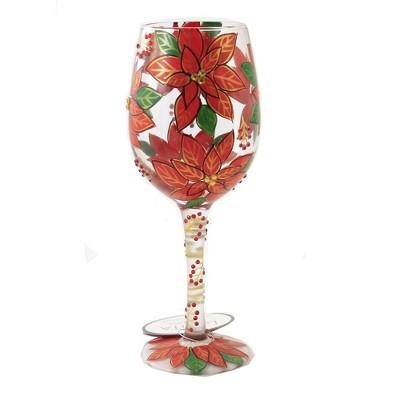 "Tabletop 9.0"" Pretty As A Poinsettia Stemmed Wine Glass Christmas Enesco  -  Drinkware"
