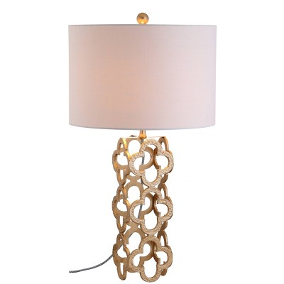 "26.5"" Metal Oliver Quatrefoil Table Lamp (Includes LED Light Bulb) Gold - JONATHAN Y"