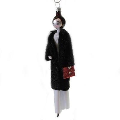 "Italian Ornaments 7.0"" Jeanette In Faux Sable Ornament Italian Diva Lady  -  Tree Ornaments"