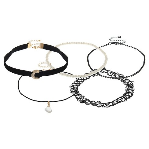 Women's Choker Set with Stretch, Acrylic Pearl and Crescent Shape Charm - Black - image 1 of 1