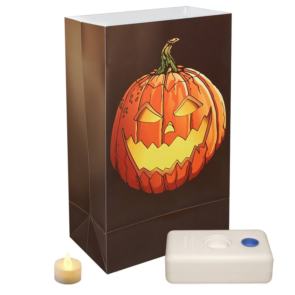 "Image of ""12ct Battery Operated Luminaria Kit """"Jack O' Lantern"""" LED Candle Brown/Orange - LumaBase"""