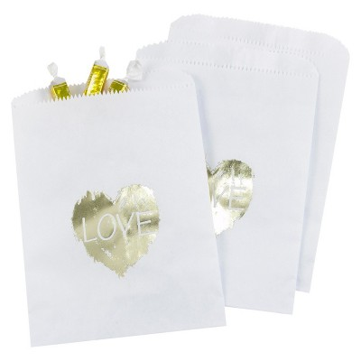 25ct Brush of Love Treat Bags White