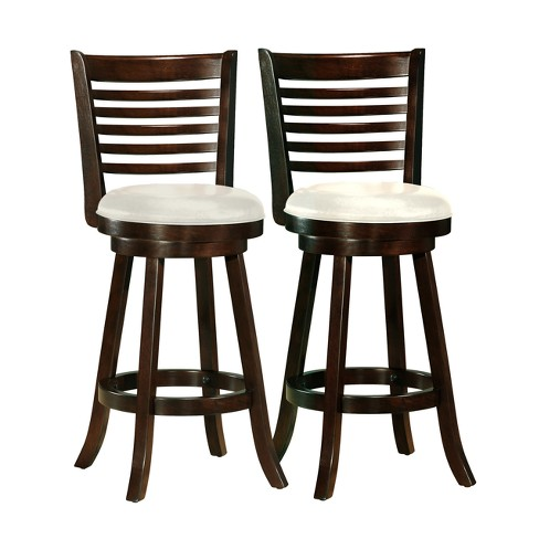 Set of 2 Counter And Bar Stools Dark Cappuccino White - CorLiving - image 1 of 4