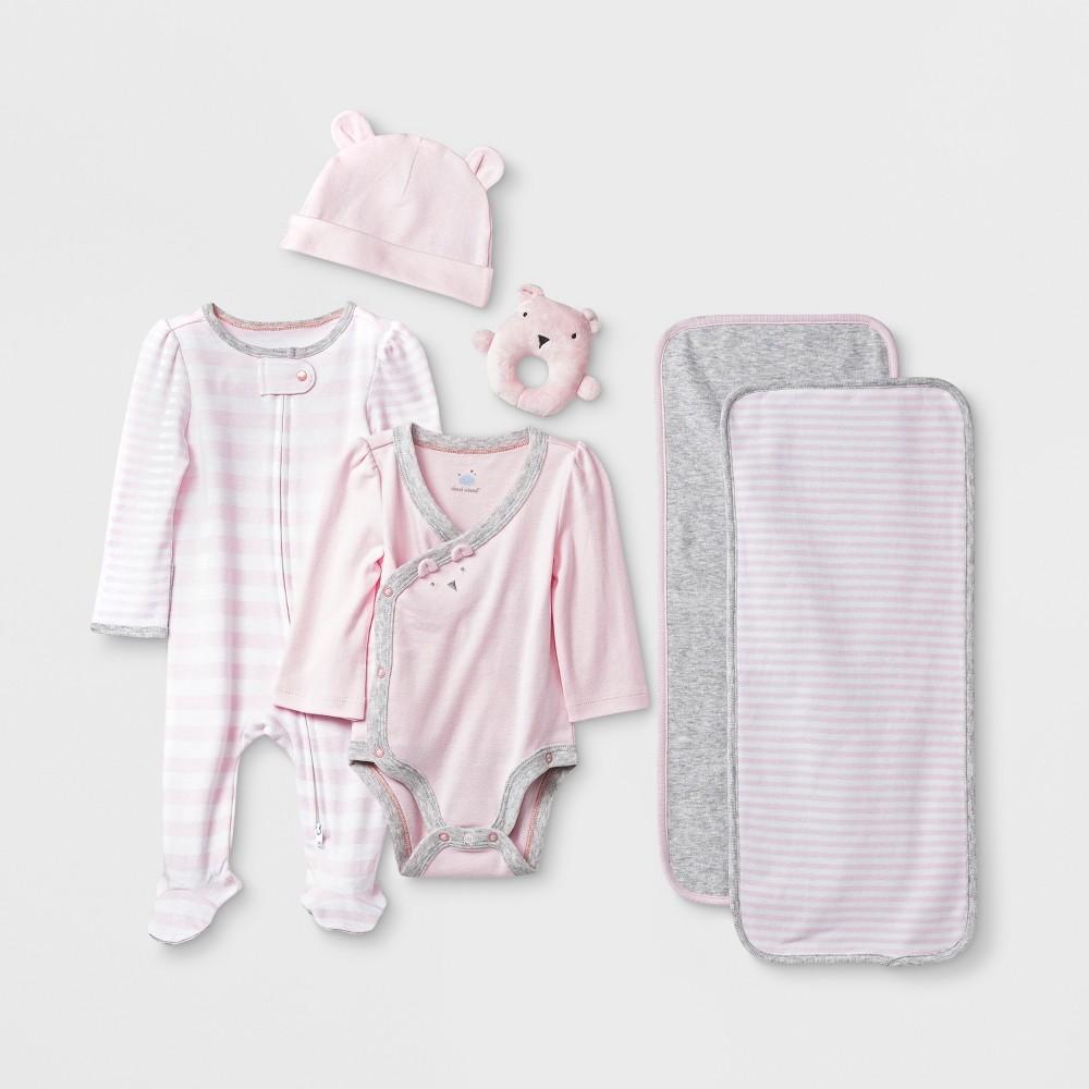 Image of Baby Girls' 6pc Gift Box Set - Cloud Island Pink 0-3M, Girl's, Blue/Pink