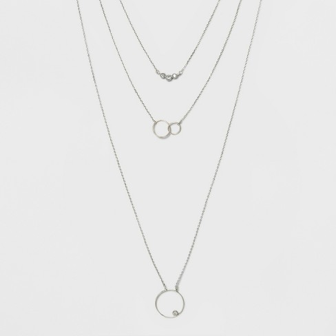 Trio Layer Circle Pendent Necklace - A New Day™ - image 1 of 3