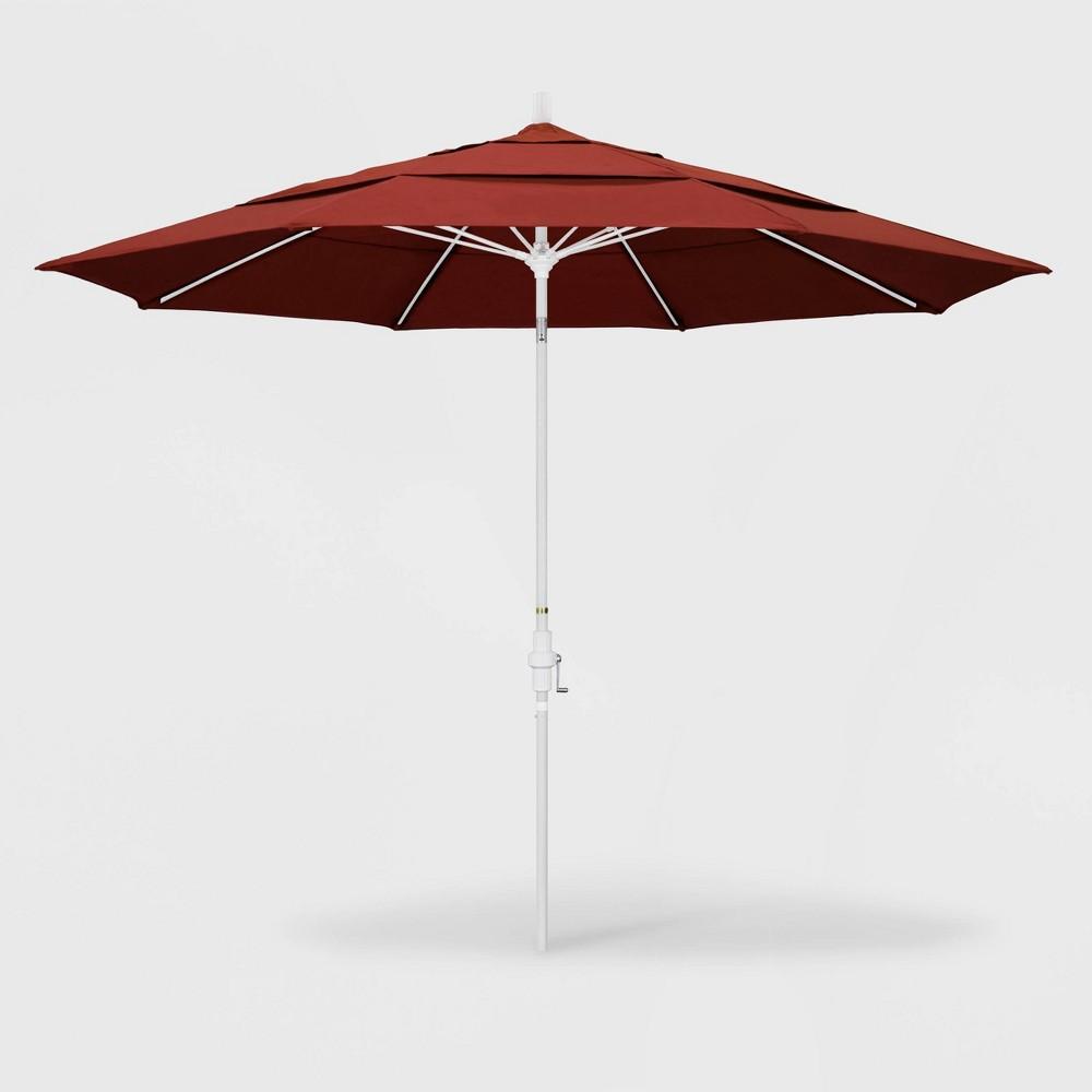 Image of 11' Sun Master Patio Umbrella Collar Tilt Crank Lift - Sunbrella Terracotta - California Umbrella