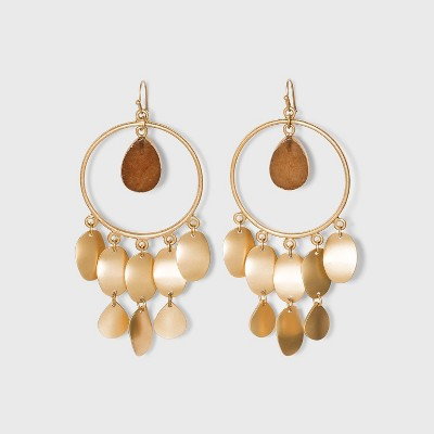 Semi-Precious Stone and Matte Gold Discs Drop Statement Earrings - Universal Thread™