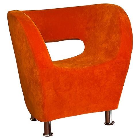 Modern Orange Microfiber Accent Chair, Modern Orange Accent Chair