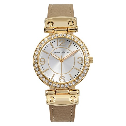 Women's Journee Collection Rhinestone Accented Round Face Simulated Leather Watch - image 1 of 2