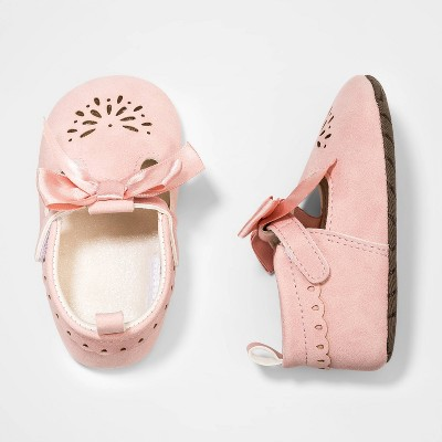 Baby Girls' Scallop and Bow Mary Jane Shoes - Cat & Jack™ Pink 0-3M