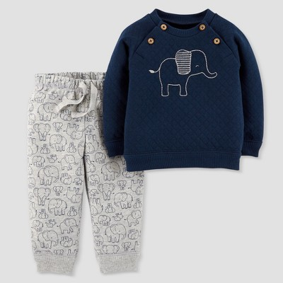 Baby Boys' 2pc Quilted Elephant Set - Just One You® made by carter's Navy 6M