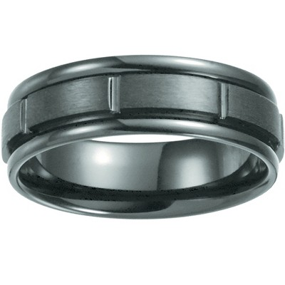 Pompeii3 Black Titanium Mens Comfort Fit Brushed Grooved Polished Edge Wedding Band 7MM