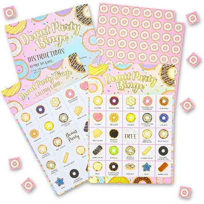 Bingo Party Game for Donut Theme 1st First Birthday, Girl Baby Shower, Kids Classroom Activities, Game Cards and Chips for 36 Players