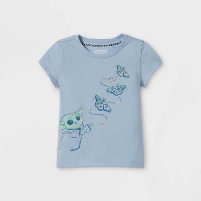 Toddler Girls' Star Wars Baby Yoda & Butterflies Cap Sleeve Graphic T-Shirt - Blue