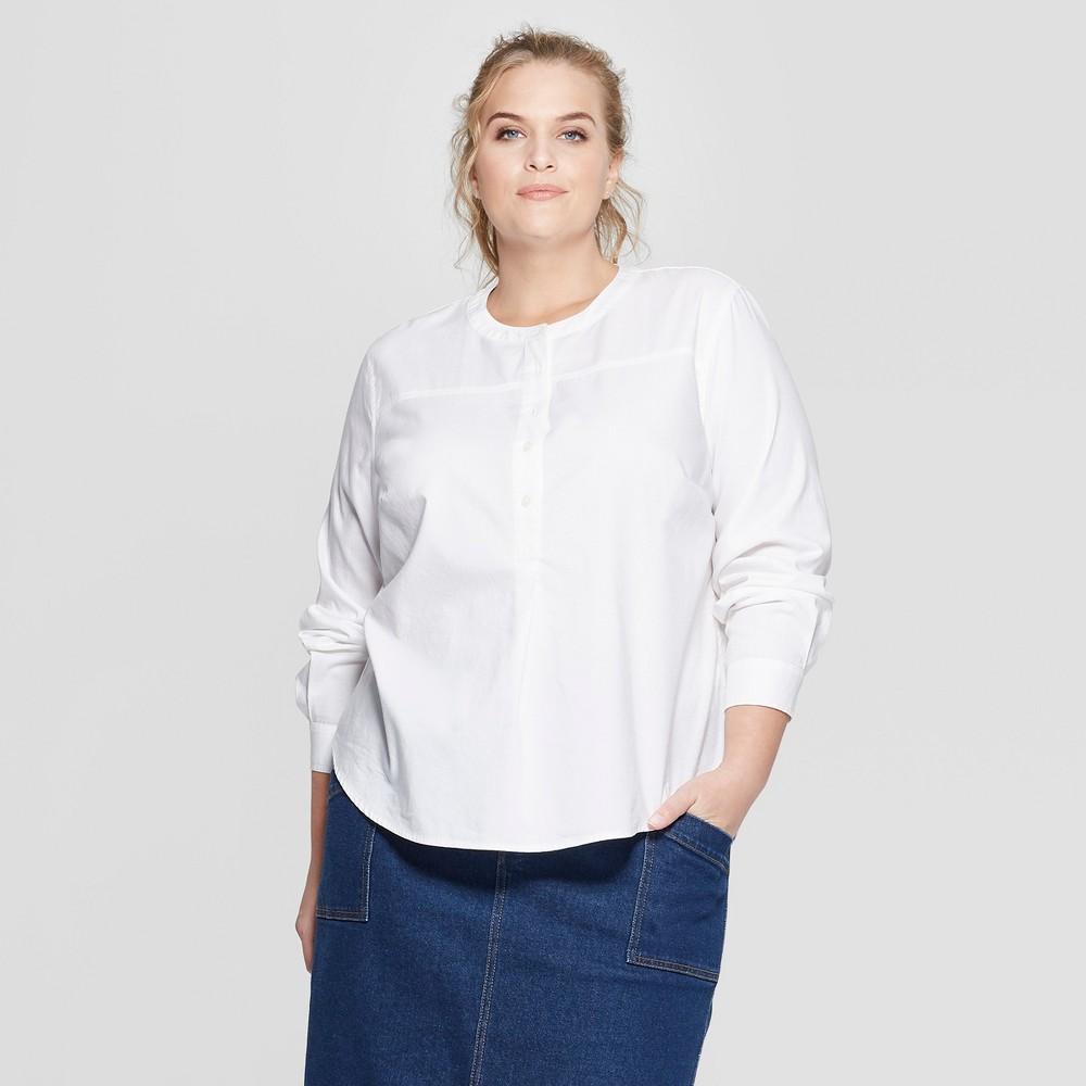 bf44f26d892ea9 Womens Plus Size Long Sleeve Half Button Down Shirt Universal Thread White  1X