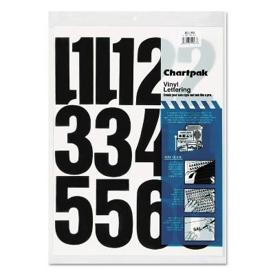 "Chartpak Press-On Vinyl Numbers Self Adhesive Black 4""h 23/Pack 01193"
