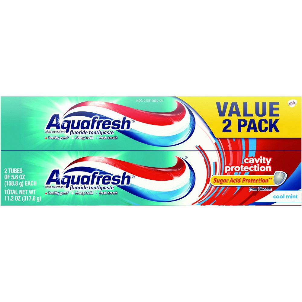 Image of Aquafresh Cavity Protection Cool Mint Toothpaste Twin Pack - 11.2oz