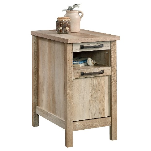Cannery Bridge Side Table With Drawer And Open Shelf Lintel Oak