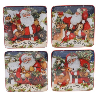 "6"" 4pk Earthenware Magic of Christmas Santa Canape Plates - Certified International"