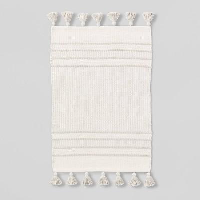 2' x 3' Texture Border Stripe Accent Rug Cream/Silver Gray - Hearth & Hand™ with Magnolia