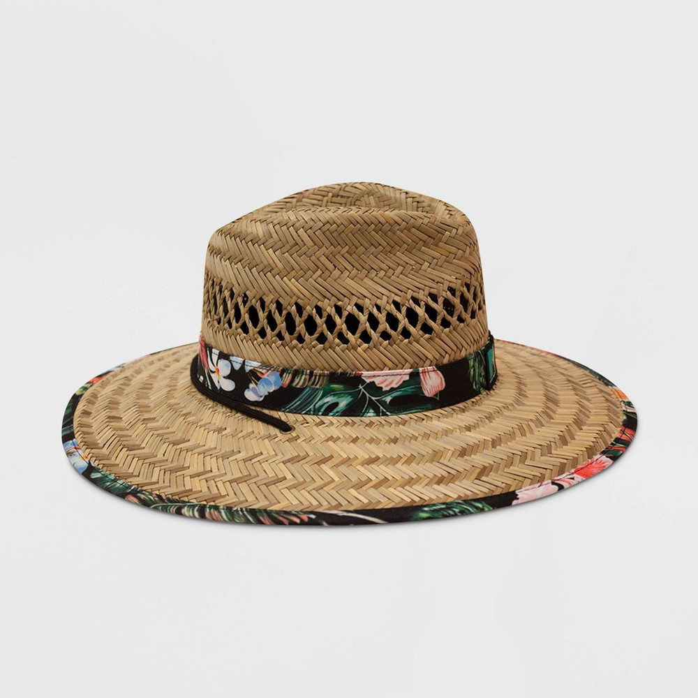 Image of Men's MTV Floral Print Lifeguard Straw Fedora Hat - Natural One Size, Men's, Beige
