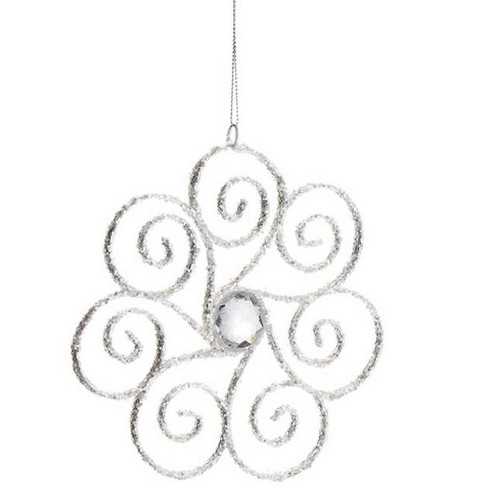 "Allstate 6.25"" Glittered Swirling Snowflake with Jewel Accent Christmas Ornament - White - image 1 of 1"