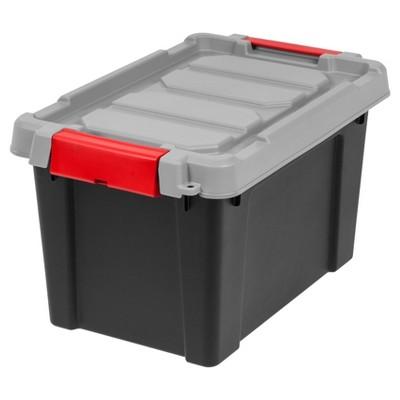 IRIS 5 Gal. Heavy Duty Plastic Storage Bin - 4pk, Black