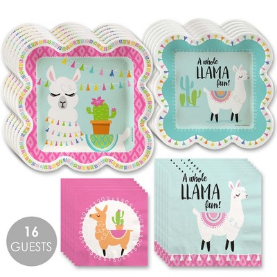 Big Dot of Happiness Whole Llama Fun - Llama Fiesta Baby Shower or Birthday Party Tableware Plates and Napkins - Bundle for 16