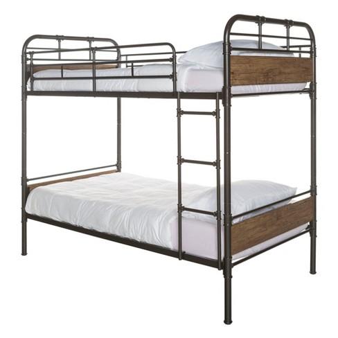 Twin Over Twin Metal Wood Bunk Bed Black Saracina Home Target