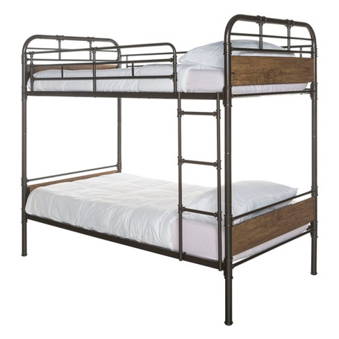 Twin over Twin Metal Wood Bunk Bed - Black - Saracina Home - image 1 of 4