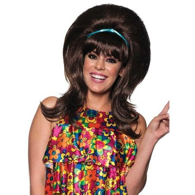 Underwraps 60s Bufant with Headband One Size Adult Costume Wig | Brunette