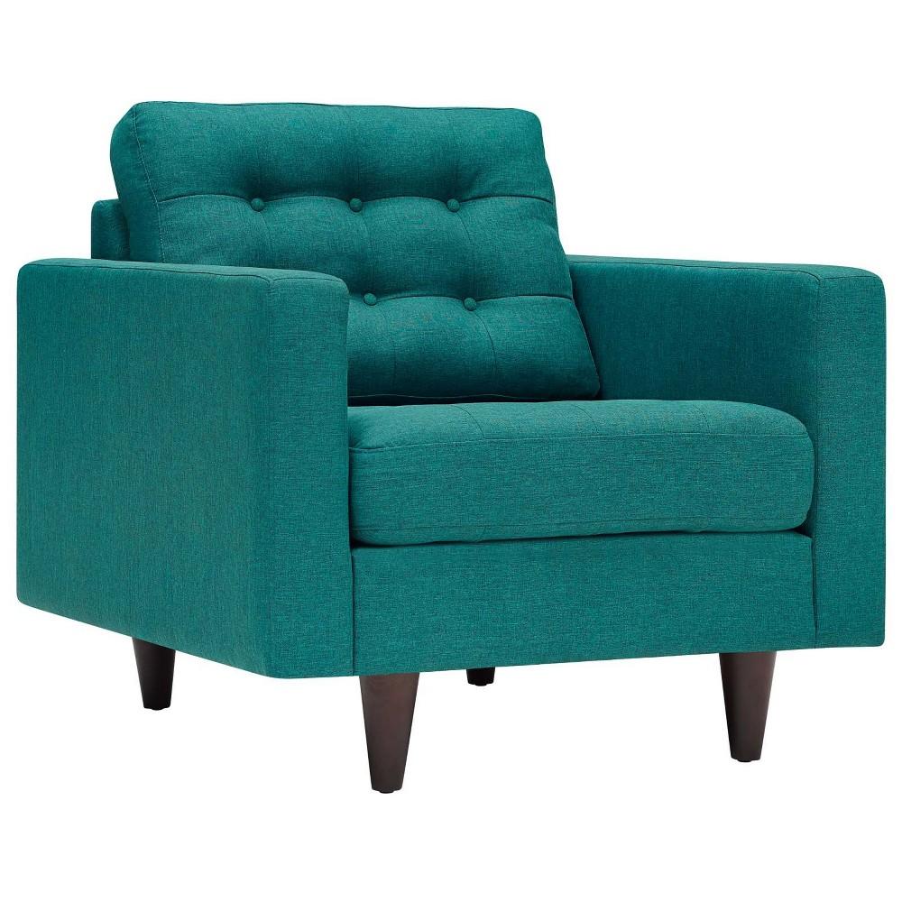 Empress Upholstered Armchair Teal (Blue) - Modway