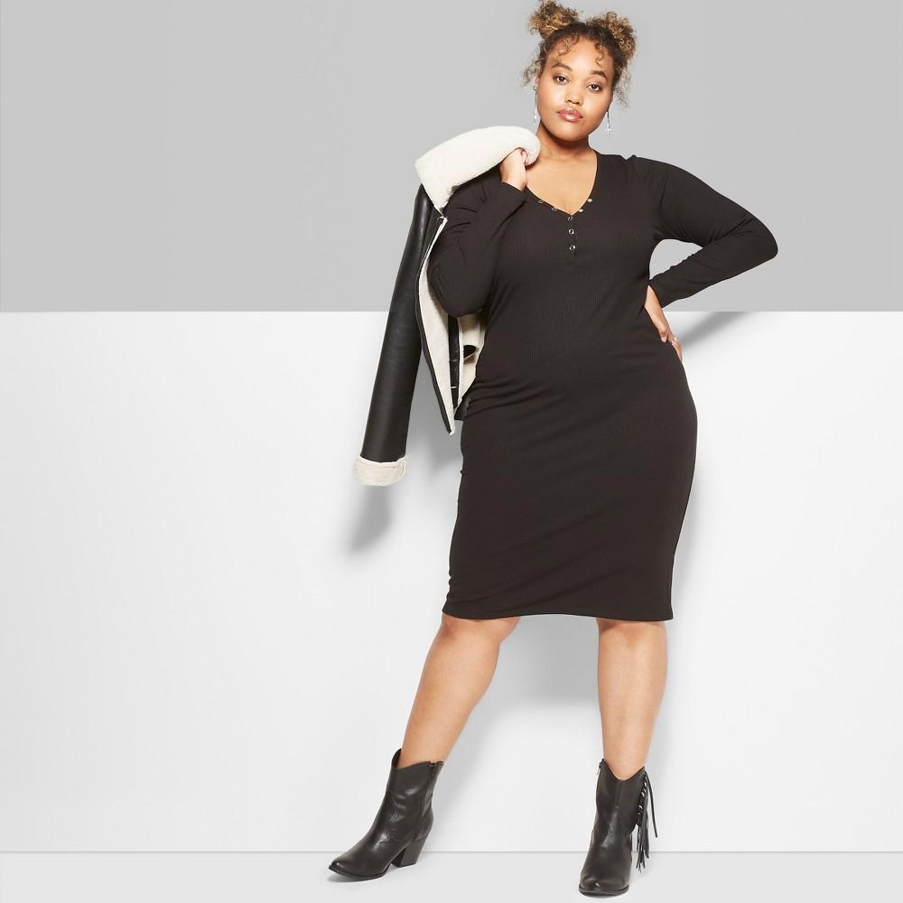 Women's Plus Size Long Sleeve Rib Henley Midi Dress - Wild Fable Black 1X
