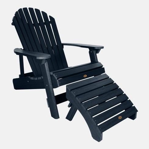 King Hamilton Folding Patio Adirondack Chair & Ottoman Federal Blue highwood