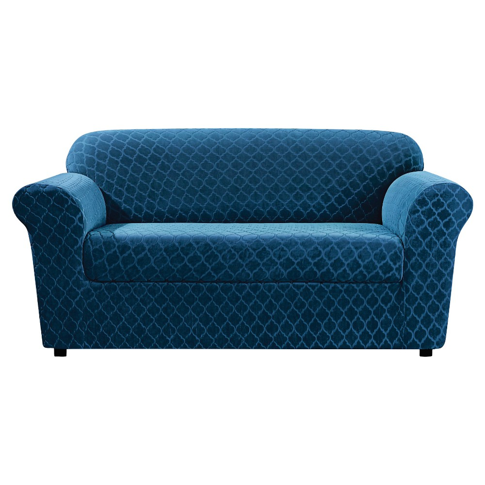 Stretch Marrakesh Loveseat Slipcover Blue Nile 2 Pc - Sure Fit
