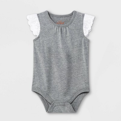Baby Girls' Eyelet Ruffle Sleeve Bodysuit - Cat & Jack™ Gray 0-3M