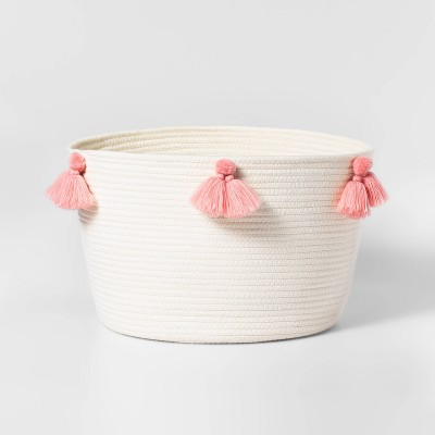 Large Coiled Rope Basket with Tassels Natural/Rose Pink - Pillowfort™