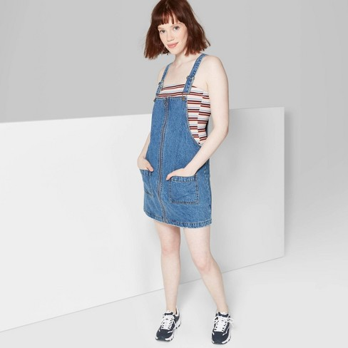 factory price hot-selling official top-rated newest Women's Sleeveless Zip Front Denim Pinafore Mini Dress - Wild Fable™ Medium  Wash