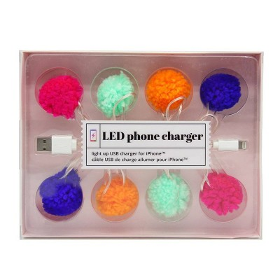 """46"""" LED Pom Pom Phone Charger USB Cable"""