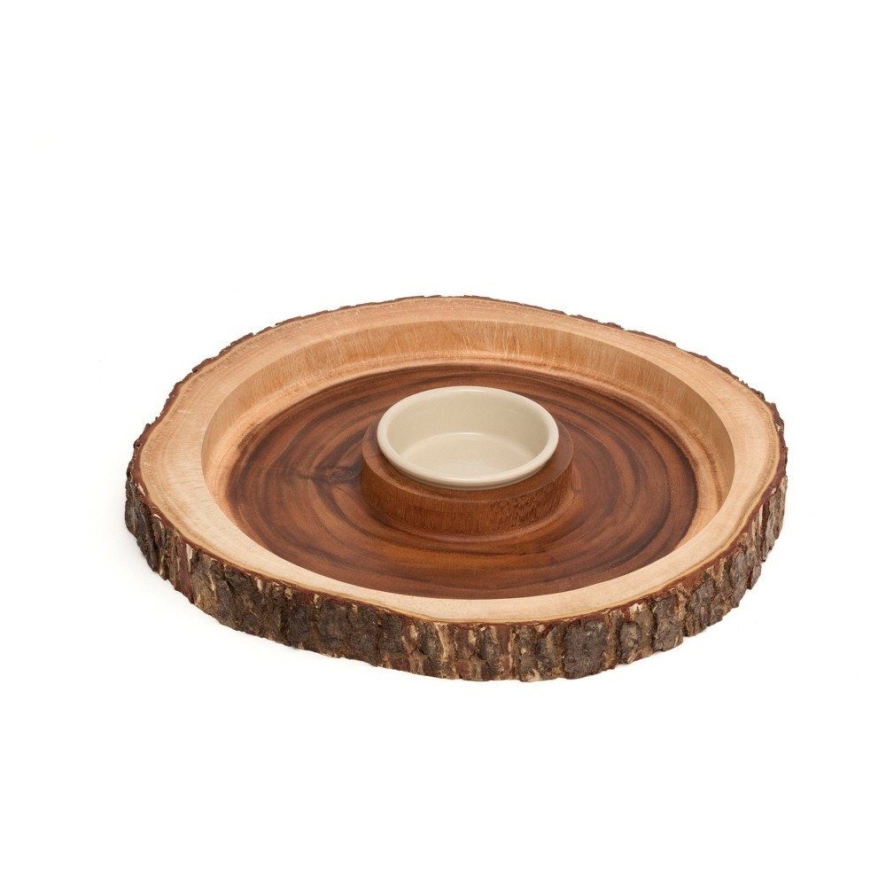 Image of Lipper International Acacia Bark Round Server with Dip Bowl