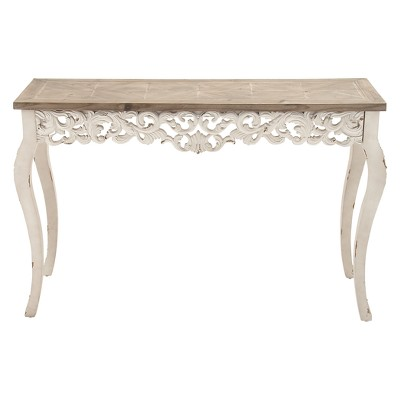 Wood Parisian Design Floral Ornate Detailing Console Table White - Olivia & May