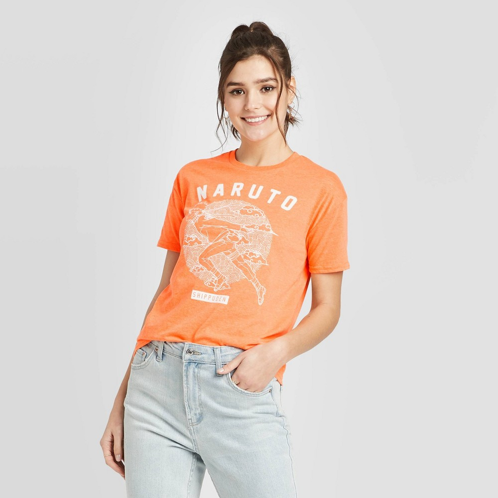 Image of Women's Naruto Short Sleeve Graphic T-Shirt (Juniors') - Neon Orange L, Size: Large, Beige