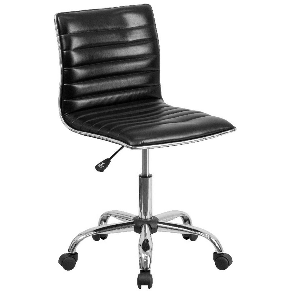 Low Back Armless Designer Swivel Task Chair Black - Flash Furniture