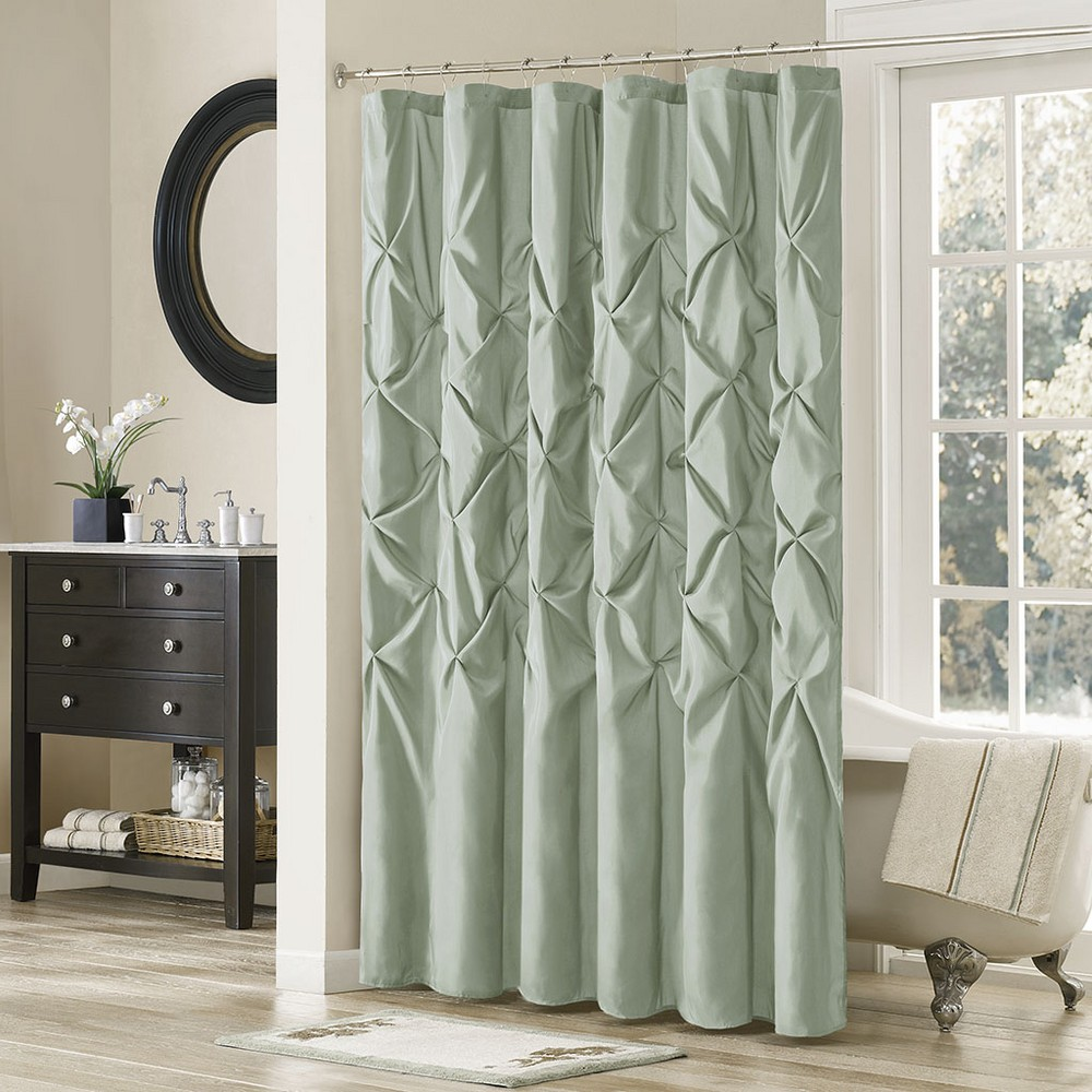 Piedmont Solid Polyester Shower Curtain - Teal, Seafoam