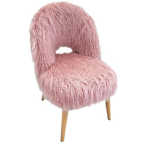 Faux Fur Accent Chair in Pink - Jeco - image 1 of 1