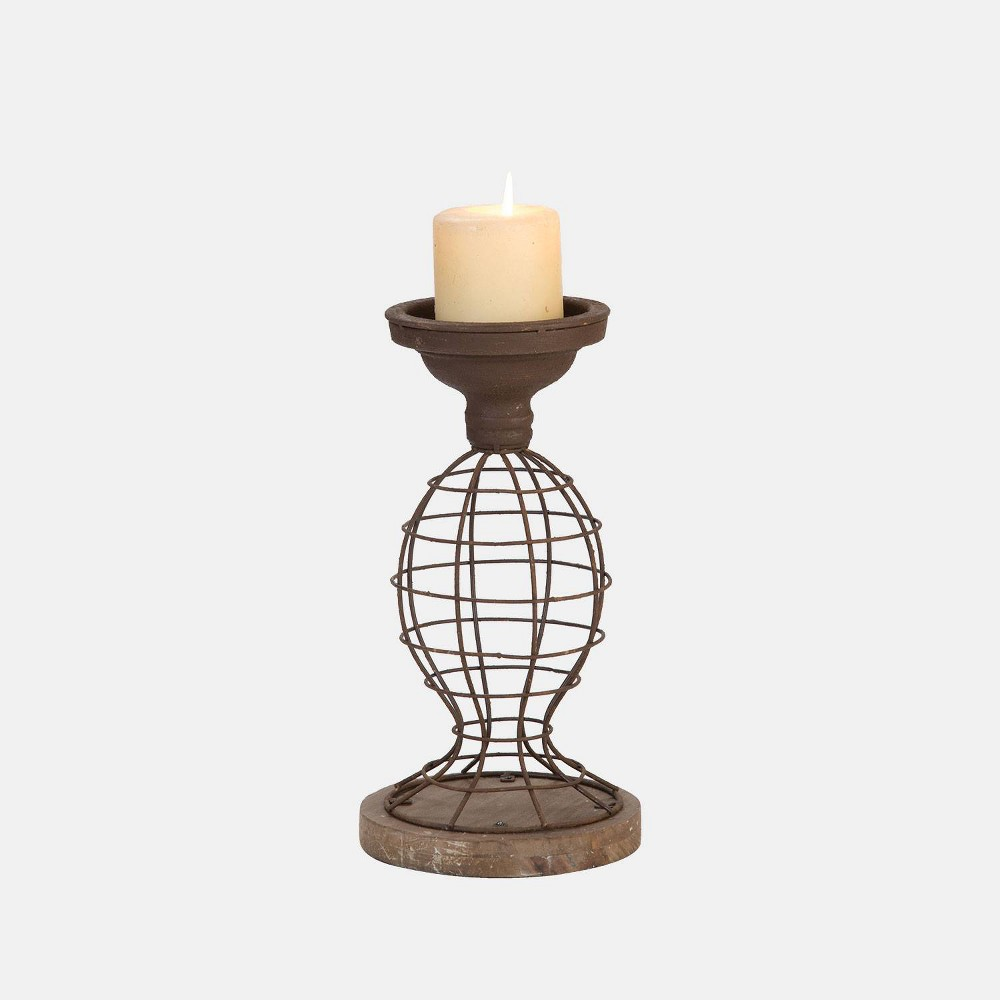 Image of Small Wire Pillar Candle Holder - Foreside Home & Garden, Brown